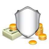 Ασπίδα ασφάλειας που προστατεύει τα χρήματα Στοκ φωτογραφία με δικαίωμα ελεύθερης χρήσης