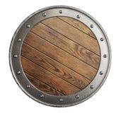 Ασπίδα μεσαιωνικών παλαιών ξύλινων Βίκινγκ που απομονώνεται στοκ φωτογραφία με δικαίωμα ελεύθερης χρήσης