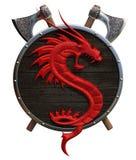 Ασπίδα με έναν κόκκινο δράκο ελεύθερη απεικόνιση δικαιώματος