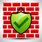 Ασπίδα με check-mark την ένωση στον τοίχο για τις έννοιες ή το σπίτι s ΤΠ Απεικόνιση αποθεμάτων