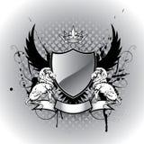 Ασπίδα οικοσημολογίας Grunge με το λιοντάρι Στοκ φωτογραφία με δικαίωμα ελεύθερης χρήσης