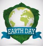 Ασπίδα που διαμορφώνεται για τα φύλλα με τον κόσμο για τη γήινη ημέρα, διανυσματική απεικόνιση Στοκ εικόνες με δικαίωμα ελεύθερης χρήσης