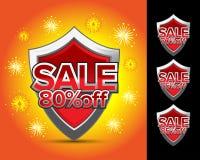 Ασπίδα 80% πώλησης μακριά, ασπίδα 70% πώλησης μακριά, ασπίδα 75% πώλησης μακριά, ασπίδα 85% πώλησης από το έμβλημα CREST, αυτοκόλ Στοκ φωτογραφία με δικαίωμα ελεύθερης χρήσης