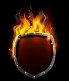 Ασπίδα στις φλόγες διανυσματική απεικόνιση