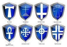 Ασπίδες με τους σταυρούς ελεύθερη απεικόνιση δικαιώματος