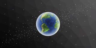 αστέρια γήινων πλήρη πλανητών ανασκόπησης Σφαίρα στο διάστημα Στοκ Φωτογραφίες
