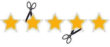 Αστέρια εκτίμησης προϊόντων με την κομμένα γραμμή και το ψαλίδι - διανυσματική απεικόνιση - που απομονώνεται στο λευκό ελεύθερη απεικόνιση δικαιώματος