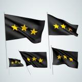3 αστέρια - μαύρες διανυσματικές σημαίες Στοκ Φωτογραφίες