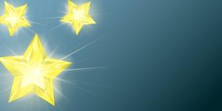 Αστέρια με την επίδραση φω'των πυράκτωσης Αστέρι Τρισδιάστατο ρεαλιστικό παιχνίδι γυαλιού Χριστουγέννων με το χρυσό έντονο φως Δι διανυσματική απεικόνιση