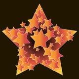 Αστέρια στα πλαίσια ενός μεγάλου αστεριού, yellow-orange χρώμα, μεγάλος και μικρός απεικόνιση αποθεμάτων