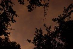 Αστέρια στον ουρανό με την ελαφριά ρύπανση που απεικονίζει στα σύννεφα Στοκ εικόνα με δικαίωμα ελεύθερης χρήσης