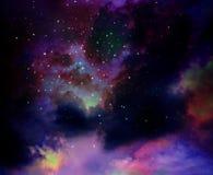 Αστέρια στο νυχτερινό ουρανό, το νεφέλωμα και το γαλαξία Στοκ Φωτογραφία