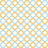 Αστέρια στο στρογγυλό σχέδιο στα μπλε και πορτοκαλιά χρώματα Στοκ Εικόνα
