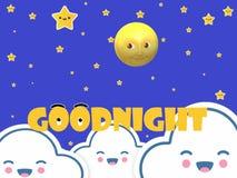 Αστέρια φεγγαριών καληνύχτας διανυσματική απεικόνιση