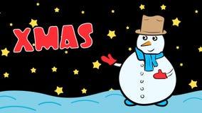 Αστέρια Χριστουγέννων και νύχτας χιονανθρώπων απεικόνιση αποθεμάτων