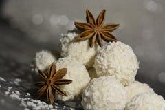 Αστέρι γλυκάνισου με την άσπρη σοκολάτα στοκ εικόνα με δικαίωμα ελεύθερης χρήσης