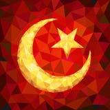 Αστέρι και ημισεληνοειδές έμβλημα του Ισλάμ στα πολύγωνα Στοκ εικόνα με δικαίωμα ελεύθερης χρήσης