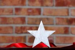 Αστέρι και κορδέλλα Χριστουγέννων Στοκ Εικόνα