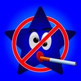 Αστέρι κινούμενων σχεδίων του σημαδιού απαγόρευσης του καπνίσματος Στοκ φωτογραφία με δικαίωμα ελεύθερης χρήσης