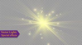 Αστέρι σε ένα διαφανές υπόβαθρο, ελαφριά επίδραση, διανυσματική απεικόνιση έκρηξη με τα σπινθηρίσματα απεικόνιση αποθεμάτων