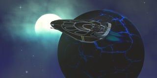 Αστέρι-σκάφος απότομων χτυπημάτων στο διάστημα Στοκ Εικόνες