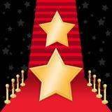 Αστέρι στο κόκκινο χαλί διανυσματική απεικόνιση