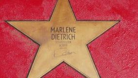 Αστέρι της Marlene Dietrich στα αστέρια Der λεωφόρων, περίπατος της φήμης στο Βερολίνο απόθεμα βίντεο