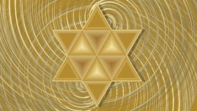 Αστέρι του Δαβίδ που μεγεθύνει στο χρυσό περιστρεφόμενο υπόβαθρο σχεδίων ελεύθερη απεικόνιση δικαιώματος