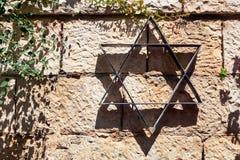 Αστέρι του Δαυίδ στον τοίχο και τις εγκαταστάσεις πετρών Στοκ φωτογραφία με δικαίωμα ελεύθερης χρήσης