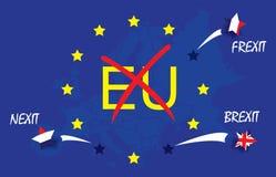 Αστέρι του Ηνωμένου Βασιλείου, netherland, ριγωτό άλμα σημαιών της Γαλλίας από τη σημαία Ευρωπαϊκή Ένωση, ΕΕ κειμένων με το κόκκι Στοκ φωτογραφίες με δικαίωμα ελεύθερης χρήσης