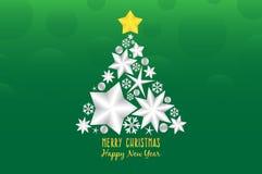 Αστέρι του σχεδίου απεικόνισης ντεκόρ χριστουγεννιάτικων δέντρων στο πράσινο υπόβαθρο ελεύθερη απεικόνιση δικαιώματος