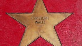 Αστέρι του Christoph Waltz στα αστέρια λεωφόρων der, περίπατος της φήμης στο Βερολίνο απόθεμα βίντεο