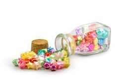 Αστέρι τύχης και μπουκάλι γυαλιού Στοκ φωτογραφία με δικαίωμα ελεύθερης χρήσης