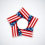 Αστέρι φιαγμένο από διπλή κορδέλλα με τα αστέρια και τα λωρίδες αμερικανικών σημαιών Στοκ φωτογραφία με δικαίωμα ελεύθερης χρήσης