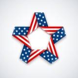 Αστέρι φιαγμένο από διπλή κορδέλλα με τα αστέρια και τα λωρίδες αμερικανικών σημαιών επίσης corel σύρετε το διάνυσμα απεικόνισης Στοκ Εικόνες
