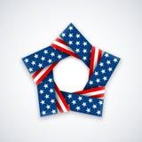 Αστέρι φιαγμένο από διπλή κορδέλλα με τα χρώματα και τα σύμβολα αμερικανικών σημαιών επίσης corel σύρετε το διάνυσμα απεικόνισης Στοκ Εικόνα