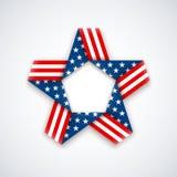 Αστέρι φιαγμένο από κορδέλλα με τα χρώματα και τα σύμβολα αμερικανικών σημαιών Vecto Στοκ Εικόνες