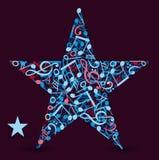 Αστέρι φιαγμένο από σημειώσεις μουσικής Στοκ Εικόνα