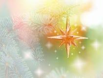 Αστέρι Χριστουγέννων στο χριστουγεννιάτικο δέντρο Στοκ εικόνες με δικαίωμα ελεύθερης χρήσης