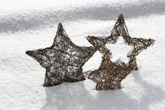 Αστέρι Χριστουγέννων τρία στο χιόνι Στοκ εικόνα με δικαίωμα ελεύθερης χρήσης