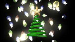 Αστέρι χριστουγεννιάτικων δέντρων και μειωμένα φω'τα ελεύθερη απεικόνιση δικαιώματος