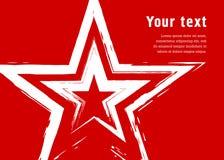 Αστέρι Grunge σε ένα κόκκινο υπόβαθρο Μιμείται το σχέδιο με μια ξηρά βούρτσα Στοκ Φωτογραφίες