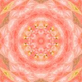 Αστέρι mandala καλειδοσκόπιων με την απεικόνιση watercolor κύκλων στα ρόδινα και πορτοκαλιά χρώματα Στοκ φωτογραφία με δικαίωμα ελεύθερης χρήσης