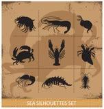 Αστακοί και διανυσματικά σημάδια σκιαγραφιών καβουριών Στοκ Εικόνες