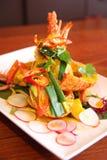 Αστακός με την κόκκινη σάλτσα κάρρυ, ταϊλανδικά τρόφιμα. Στοκ Εικόνες
