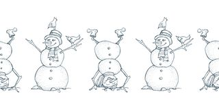 Αστεία άνευ ραφής σύνορα χιονανθρώπων και πουλιών Χαριτωμένο εικονίδιο χειμερινών διακοπών Μαύρο πρόσωπο μελανιού γραμμών στο καπ διανυσματική απεικόνιση