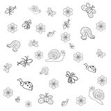 Αστεία έντομα Doodle που απομονώνονται στο λευκό Στοκ Εικόνα