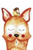Αστεία αλεπού watercolor με το πουλί στο κεφάλι στοκ εικόνα με δικαίωμα ελεύθερης χρήσης