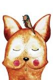 Αστεία αλεπού watercolor με το πουλί στο κεφάλι στοκ φωτογραφίες