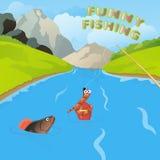 Αστεία απεικόνιση αλιείας Στοκ Εικόνες